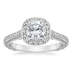 950 Platinum Womenand039s Engagement Ring Real Diamond Round Cut 1.05 Ct Size 5 6 8.5