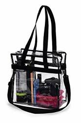 Clear Tote Bag NFL Stadium Approved - Shoulder Straps and Zippered Top for Work $11.10