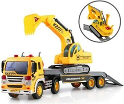 Friction Powered Flatbed Truck Excavator Tractor Construction Toy For Kids