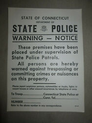 Vintage State Police Patrols State Of Connecticut Sign No Trespassing Cardboard