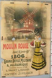 Very Rare Vintage French Cabaret Poster Roedel 1897 Moulin Rouge