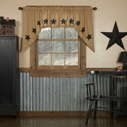 New Primitive Country Farmhouse Rustic Black Star Burlap Cafe Swags Curtains