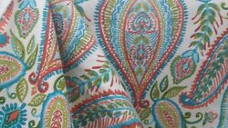 10 Yd Gorgeous Robert Allen Ombre Paisley Poppy White Red Aqua Upholstery Fabric