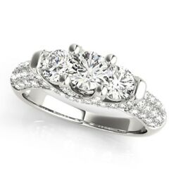 1.36 Ct Real Diamond Engagement Wedding Ring 18k Solid White Gold Size 6.5 7.5 8