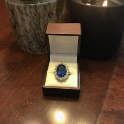 3.48 Carat Real Diamond Blue Sapphire Ring 14k Solid White Gold Size 5.5 6 7.5 8