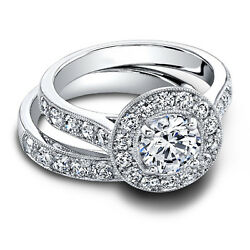 1.80 Ct Real Diamond Wedding Band Sets 14k Solid White Gold Rings Size 5.5 6