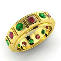 2.00 Ct Natural Ruby Emerlad Gemstone Bands 14k Solid Yellow Gold Rings Size 6 7