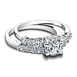 Real Diamond Engagement Band 1.30 Ct 14k Solid White Gold Women's Size 7 8 9