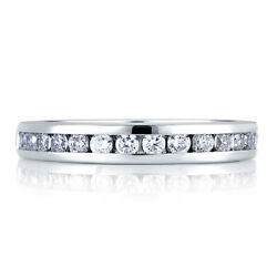 Round 0.90 Ct Real Diamond Wedding Bridal Ring 14k Solid White Gold Size 5 6 8.5