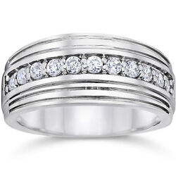 Natural 0.50 Ct Diamond Engagement Bands 14k Solid White Gold Wedding Mens Rings