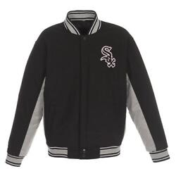 Mlb Chicago White Sox Jh Design Wool Reversible Jacket Black And Gray