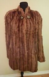 40s Vtg Hughes Stripe Fur Coat Bell Sleeve Carved Bakelight And Brass Buttons Xl