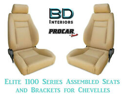 Elite 1100 Series Assembled Seats And Brackets 80-1100-54 For 1964 -1977 Chevelle