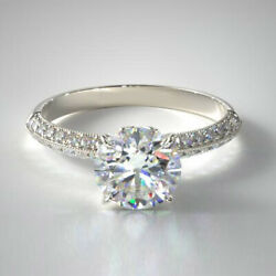 0.95 Carat Round Real Diamond Engagement Rings Solid 14k White Gold Size 5 6 7 8