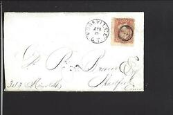 Rockville,connecticut Cover,1866 3ct Grill Issue, Fancy, Tolland Co 1842/1967.