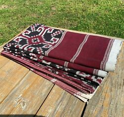 Vintage India Hand Loom Woven Cotton Ikat Textile Material 98 X 82 C.1900