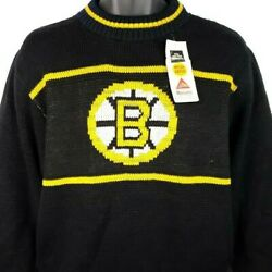 Boston Bruins Sweater Vintage 80s Nhl Hockey Made In Usa Size Medium Deadstock