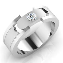 0.21 Ct Natural Diamond Engagement Rings 14k White Gold Mens Band Size 10 9.5 8