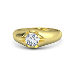 Round 0.25 Ct Menand039s Diamond Wedding Ring 14k Solid Yellow Gold Size 9.5 10 11 12