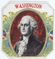 George Washington Outer Cigar Box Label 1895 Schmidt Silver Embossing