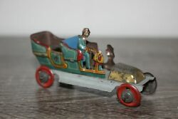 Antique Germany Tin Litho Penny Toy Open Touring Car Auto Fischer Meier
