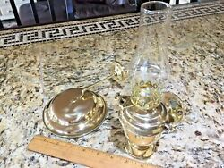 Vintage Wilcox Crittenden Polished Brass Gimballed Mount Oil Lamp W/smoke Bell