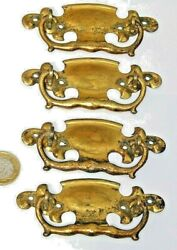 Splendid Set 4 X Arts And Crafts Brass Pull Handles Chest Of Drawers Gothic