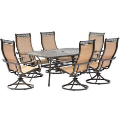 Manor 7-piece Outdoor Dining Set With Six Swivel Rockers And A Large Cast-top...