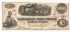 T-40 1862 100 Confederate Currency Civil War Train Note Csa W/ Interest Stamps