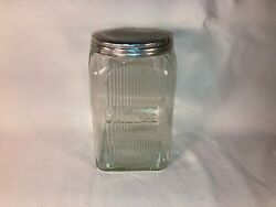 Antique Hoosier Vintage Kitchen Decor Ribbed Glass Coffee Canister Jar 10s 1920s