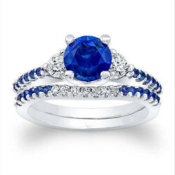 1.61 Ct Certified Blue Sapphire Diamond Engagement Ring White Gold Finish Size 6