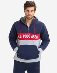 U.s. Polo Assn. Menand039s Hooded Midweight Fleece Jacket - Size Medium - F-11