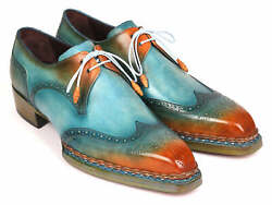 Paul Parkman Norwegian Welted Wingtip Derby Shoes Turquoise And Tobacco Id8506-t