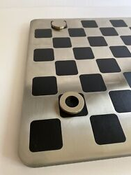 Prada Ebony Wood And Stainless Steel Checker Set Woth Nylon/leather Travel Case