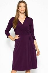 Cute Midi 34 Sleeve Dress With A Overlapping V-neck Line And A Belted Waist $40.50