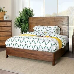 Casual Simple 1c Bedframe Queen Size Bed Antique Brown Finish Bedroom Bed
