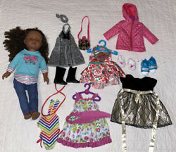 My Life Doll And Outfit 16 Piece Lot - Dresses Shoes Bathing Suit Jacket Hangars