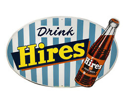 """Vintage Hires Root Beer Metal Sign 26""""x17"""" Stout Sign Co Ltd 925 Pieces"""