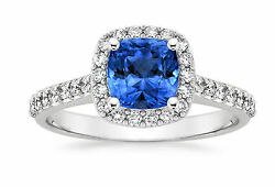 2.00 Ct Natural Diamond Natural Blue Sapphire 14k Solid White Gold Ring Size 7 6