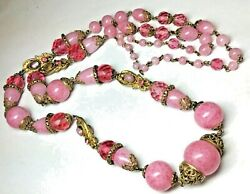 Rare 1920and039s Antique Czech Pink Peking Art Glass Egyptian Revival Neiger Necklace