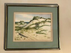 Vtg Original Signed Auther H. Morris Watercolor Painting Beach Grass Sand Dunes