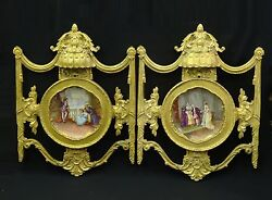 Antique Palatial 19c. Neoclassical Carved Frames Signed Dubois Limoges Charger