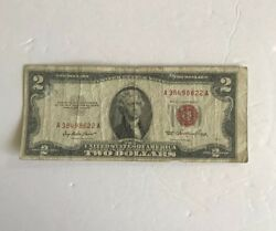 Rare Vintage 2 1953 United States Note Two Dollar Bill Jefferson Red Seal Vnc