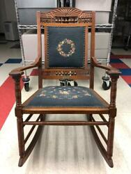 Antique Victorian Wooden Arts Crafts Carved Upholstered Embroidery Rocking Chair