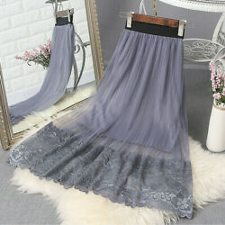Women Floral Lace Trim Skirt Midi Mesh Tulle A Line High Waist Pleated Loose New