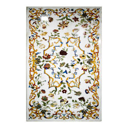 48 X 30 Marble Table Top Inlay Floral Semi Precious Stones Handmade Home Decor