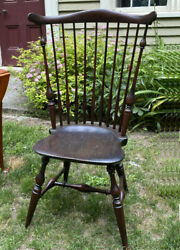 Authentic Wallace Nutting Comb Back Windsor Side Chair C1920 Original Finish Sgn