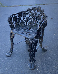 True Victorian Period Heavy Well Cast Iron Outside Garden Patio Chair C1880 Org