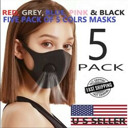 MULTI COLOR PACK OF FACE MASKS WITH FILTERED COOL AIR VENTILATOR $14.98