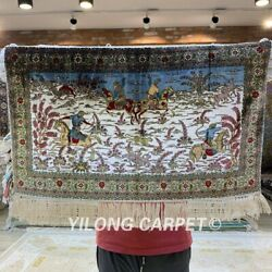 YILONG 1.5'x2' 800 Lines Hunting Animal Tapestry Handmade Silk Carpet Y014H